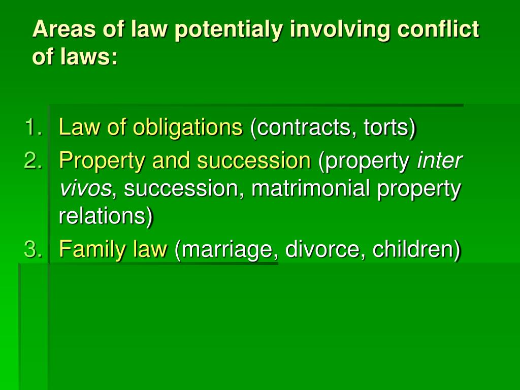 Areas of law potentialy involving conflict of laws: