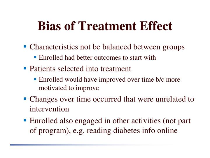 Bias of Treatment Effect