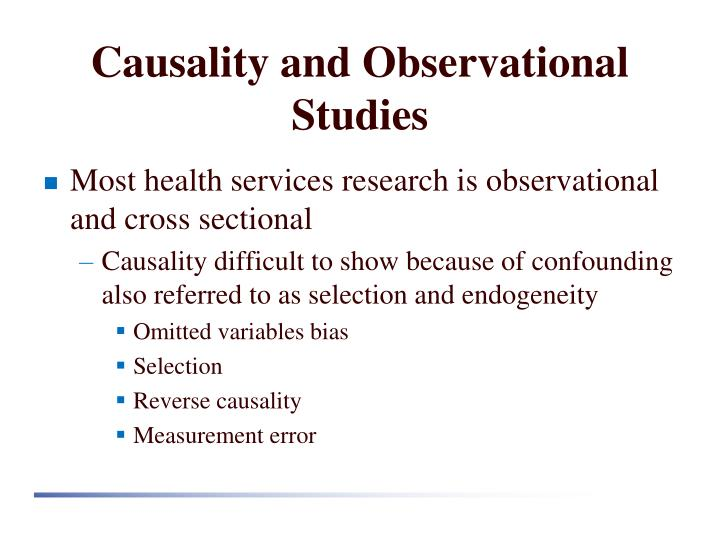 Causality and Observational Studies