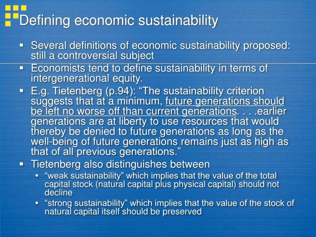 Defining economic sustainability
