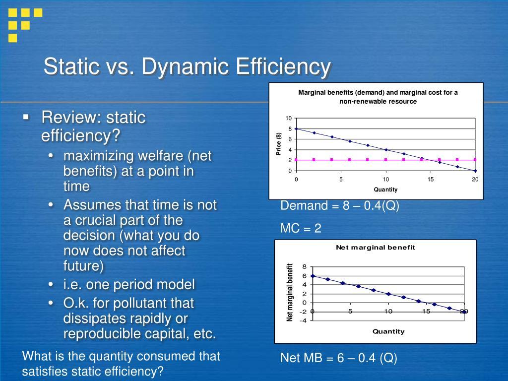 Static vs. Dynamic Efficiency