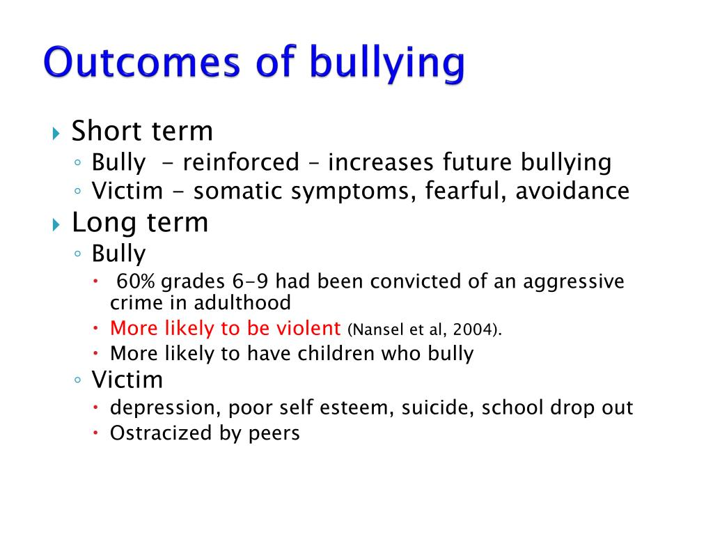 Outcomes of bullying
