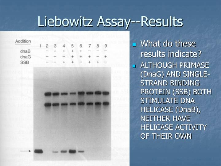 Liebowitz Assay--Results