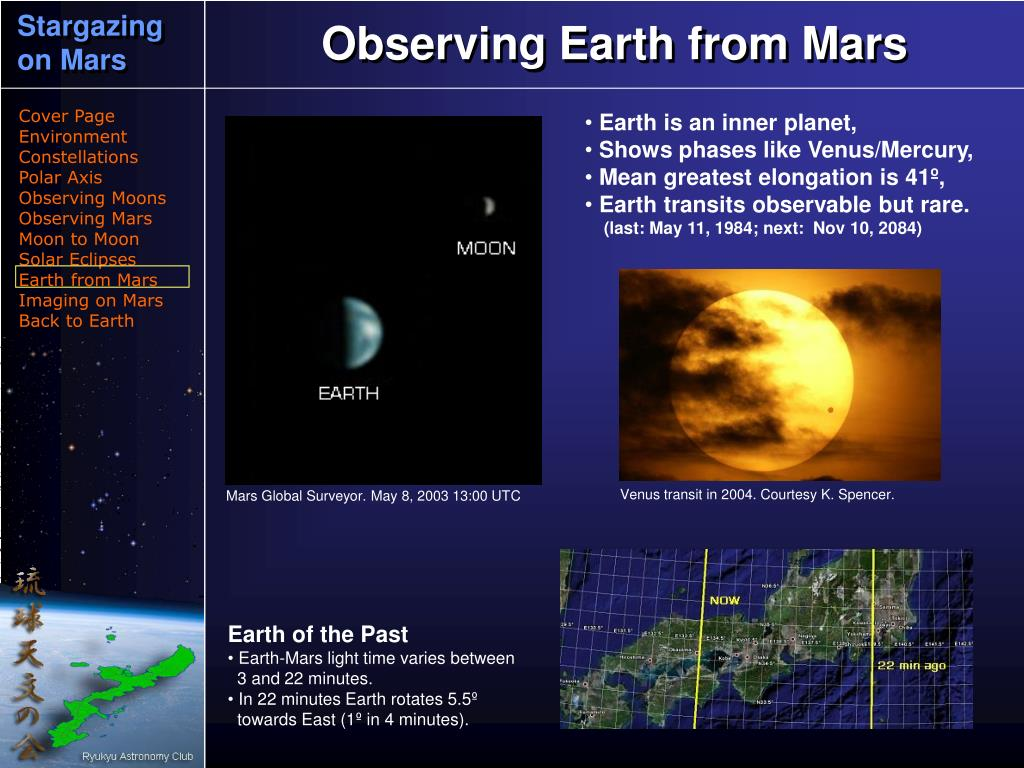 Observing Earth from Mars