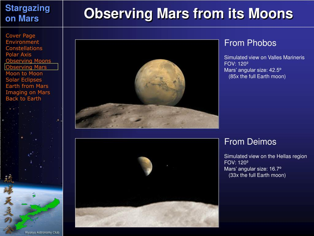 Observing Mars from its Moons