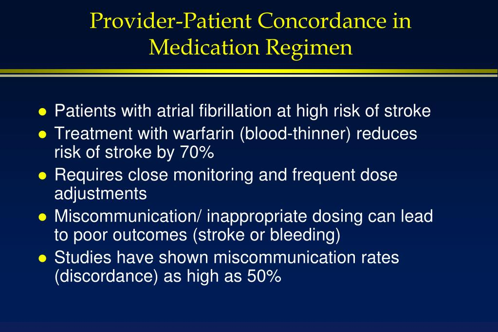 Provider-Patient Concordance in Medication Regimen