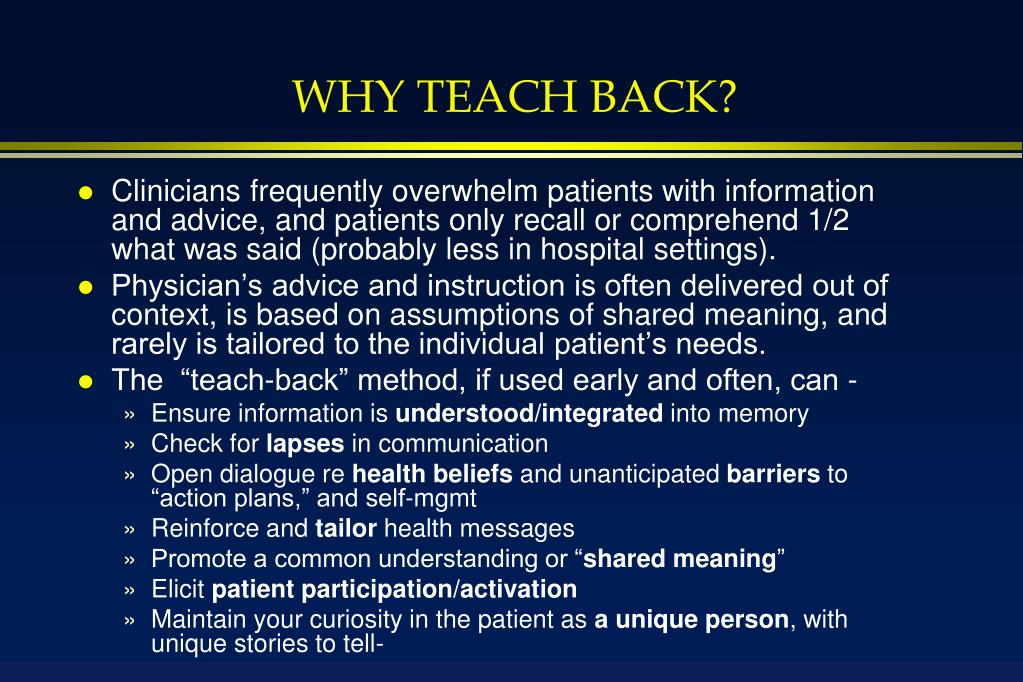 WHY TEACH BACK?