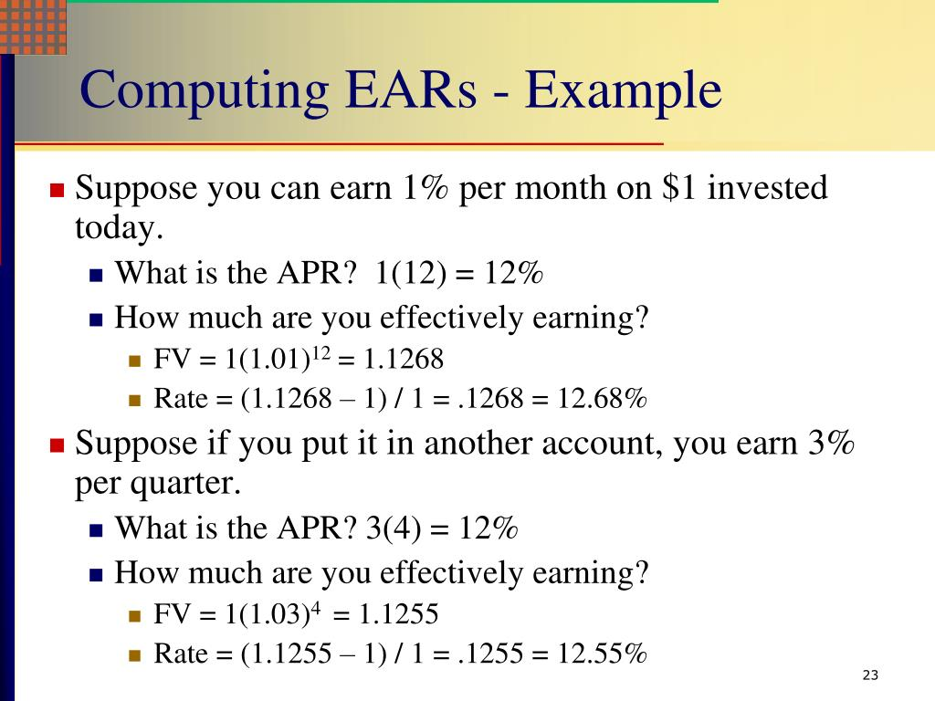 Computing EARs - Example