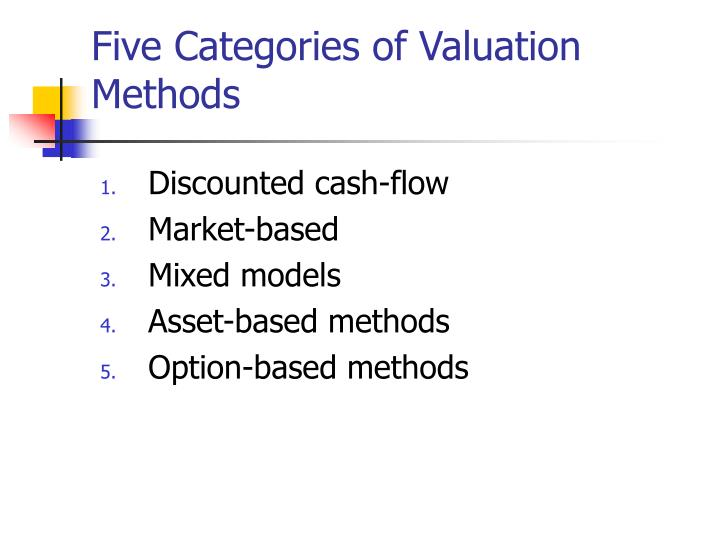 Five categories of valuation methods