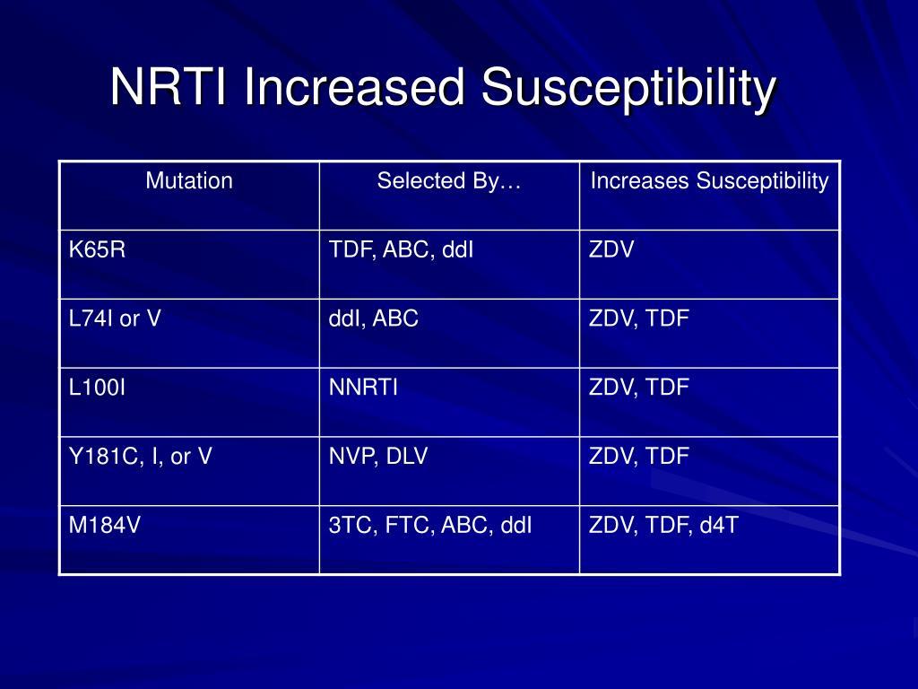 NRTI Increased Susceptibility