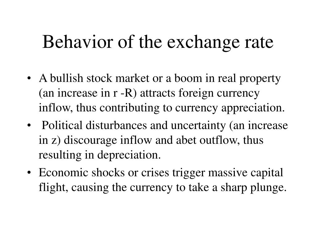 Behavior of the exchange rate