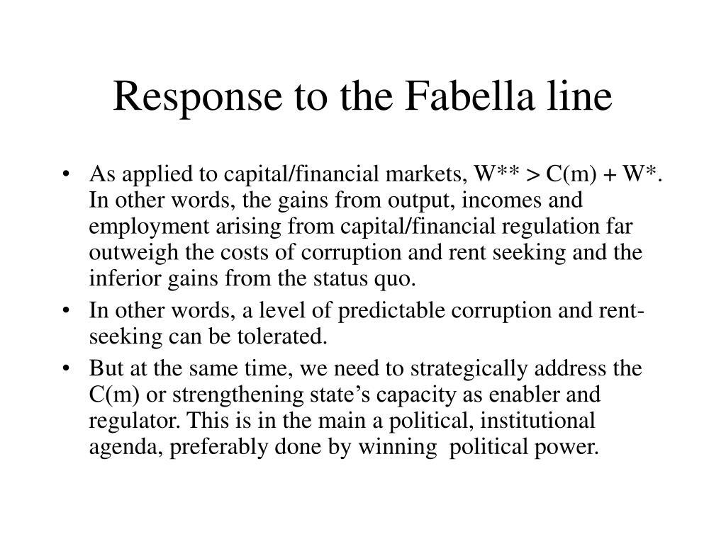 Response to the Fabella line