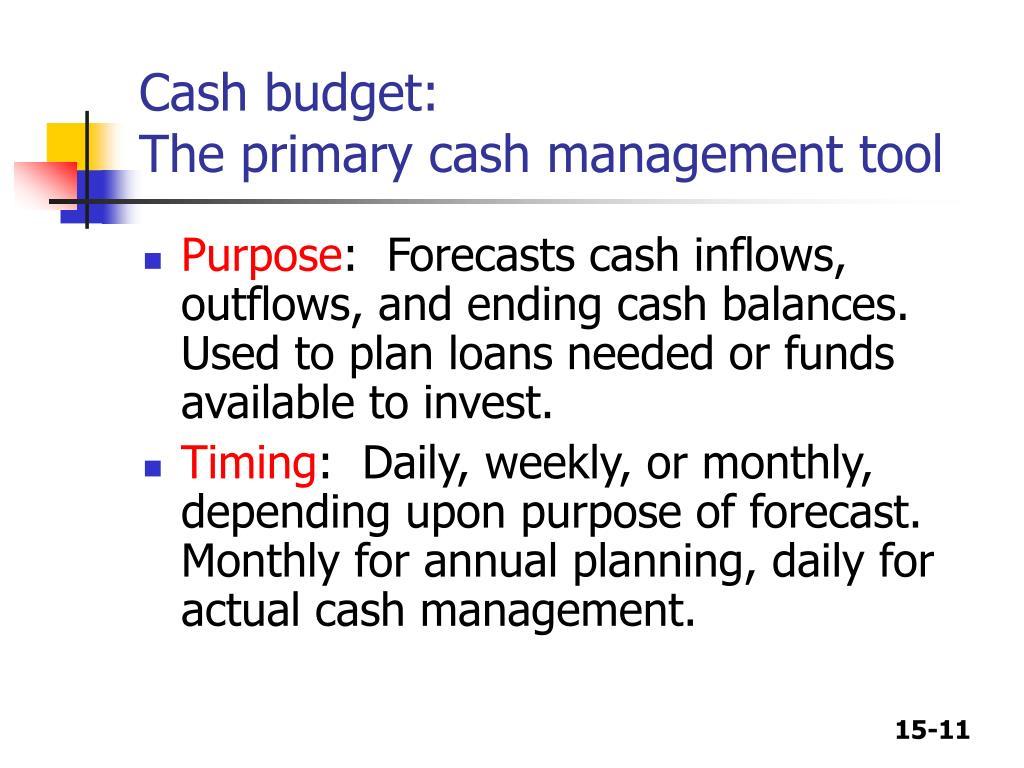Cash budget: