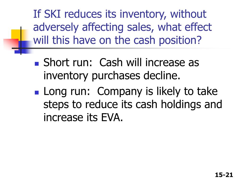 If SKI reduces its inventory, without adversely affecting sales, what effect will this have on the cash position?