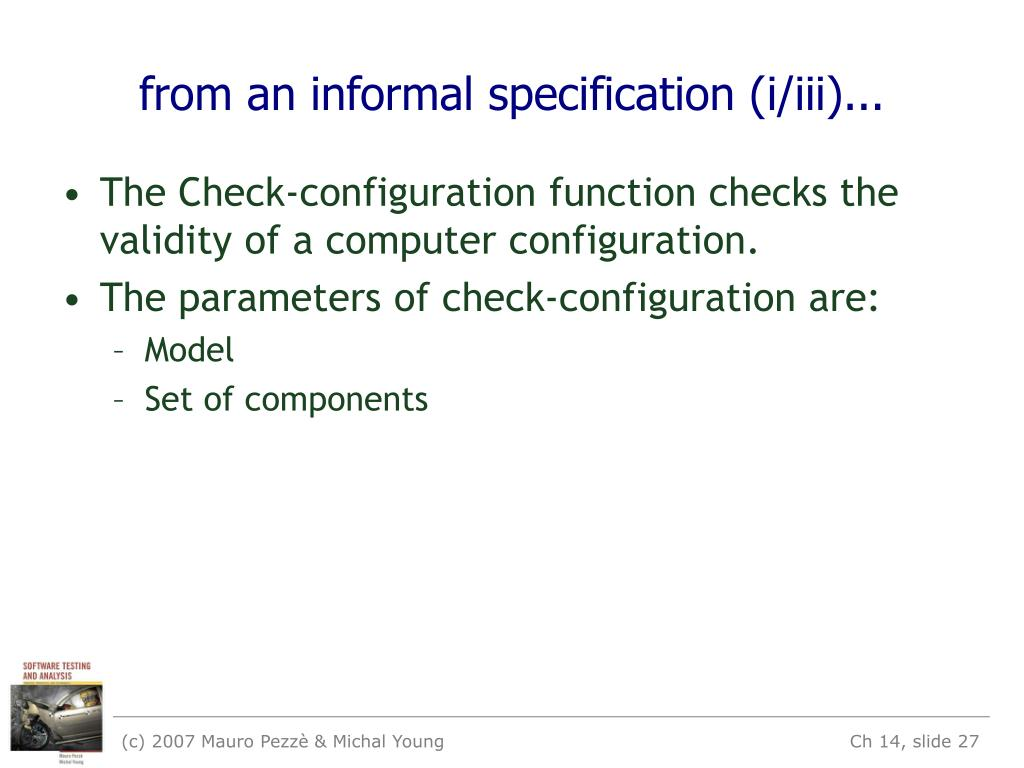 from an informal specification (i/iii)...