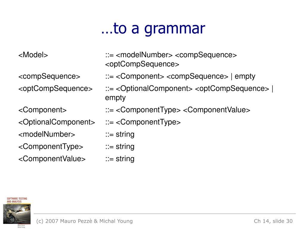 …to a grammar