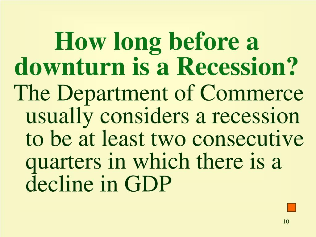 How long before a downturn is a Recession?