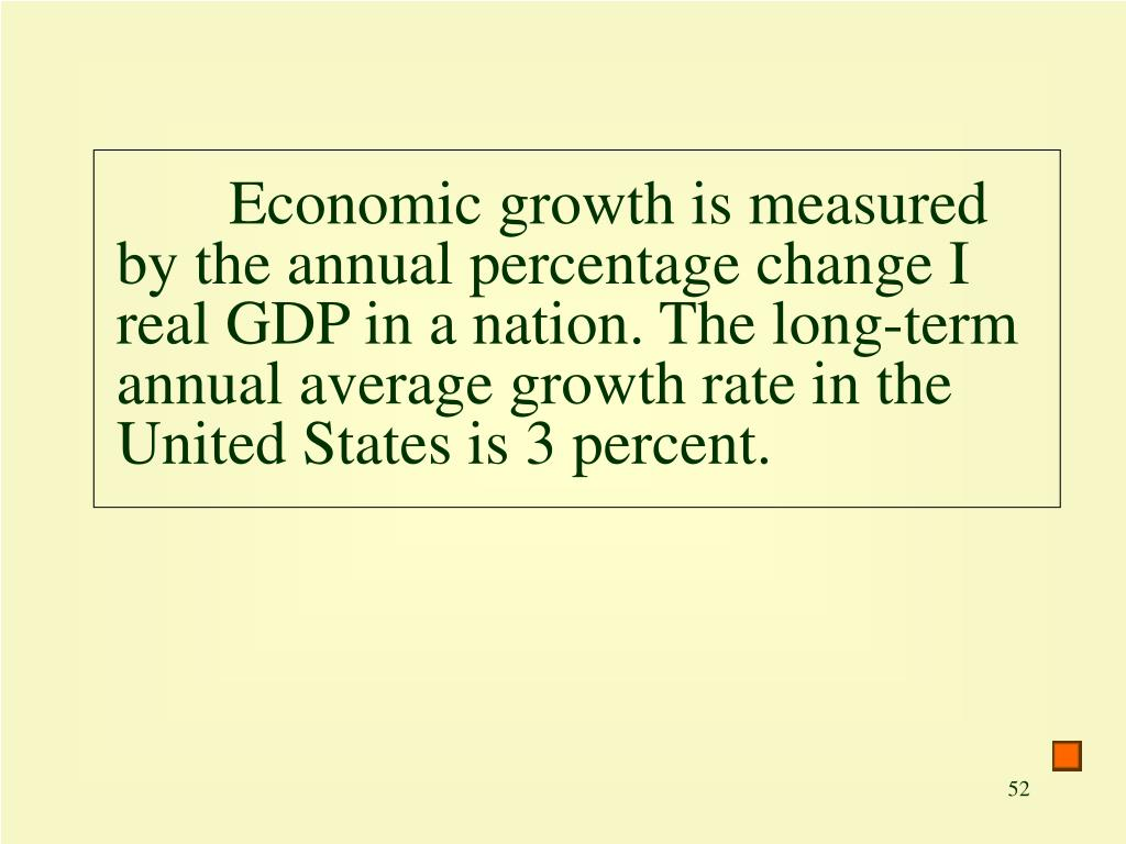 Economic growth is measured by the annual percentage change I real GDP in a nation. The long-term annual average growth rate in the United States is 3 percent.