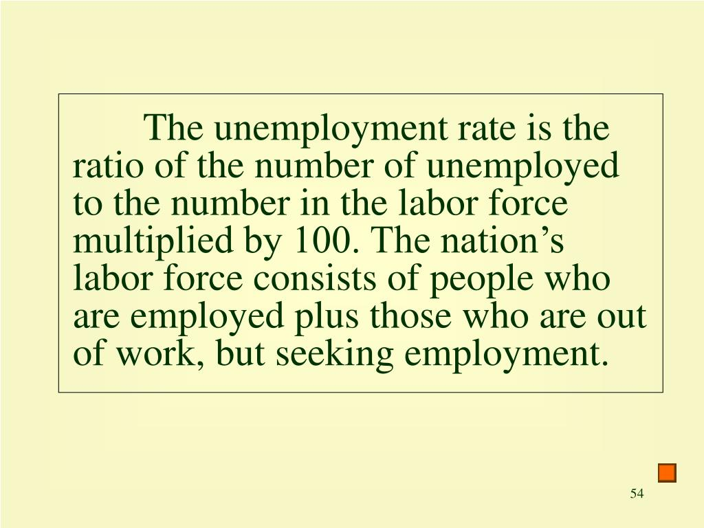 The unemployment rate is the ratio of the number of unemployed  to the number in the labor force multiplied by 100. The nation's labor force consists of people who are employed plus those who are out of work, but seeking employment.