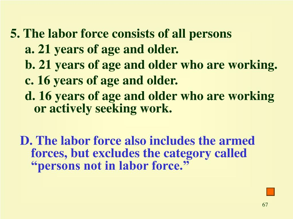 5. The labor force consists of all persons