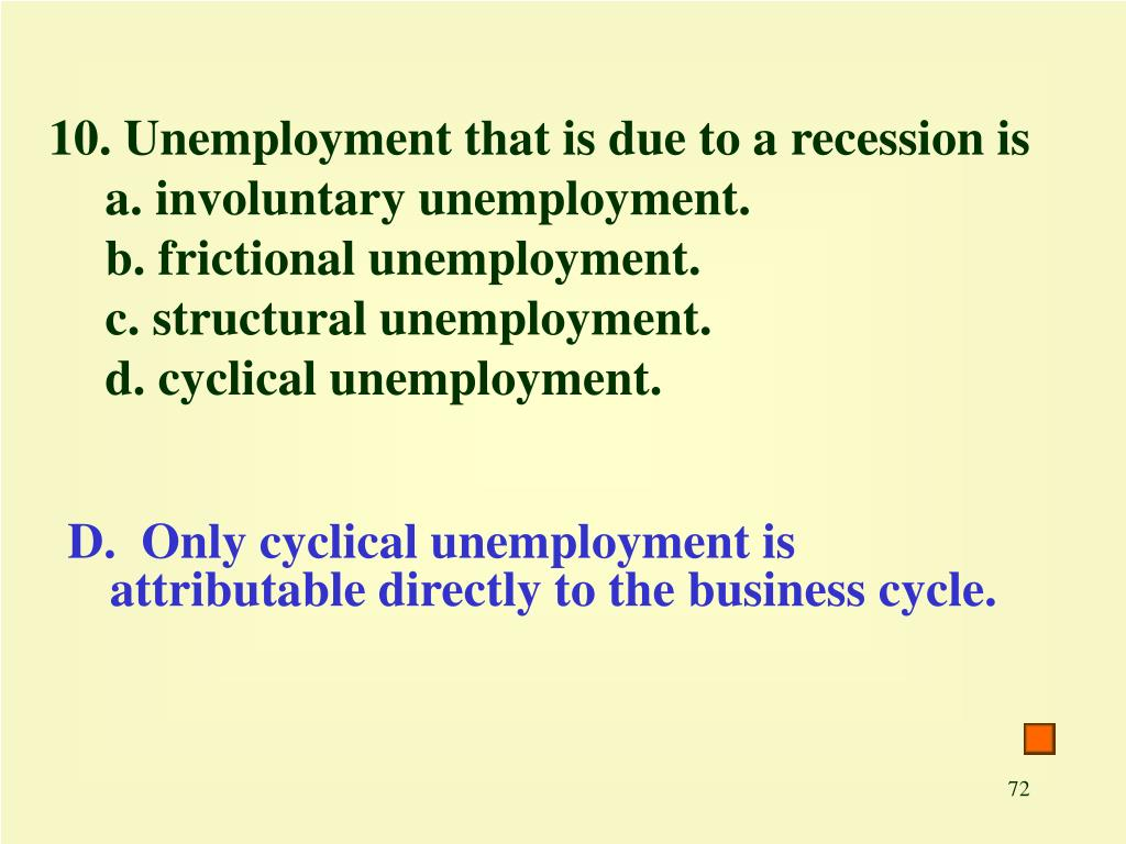 10. Unemployment that is due to a recession is