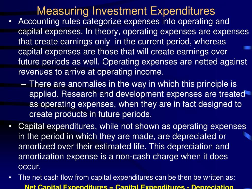 Measuring Investment Expenditures