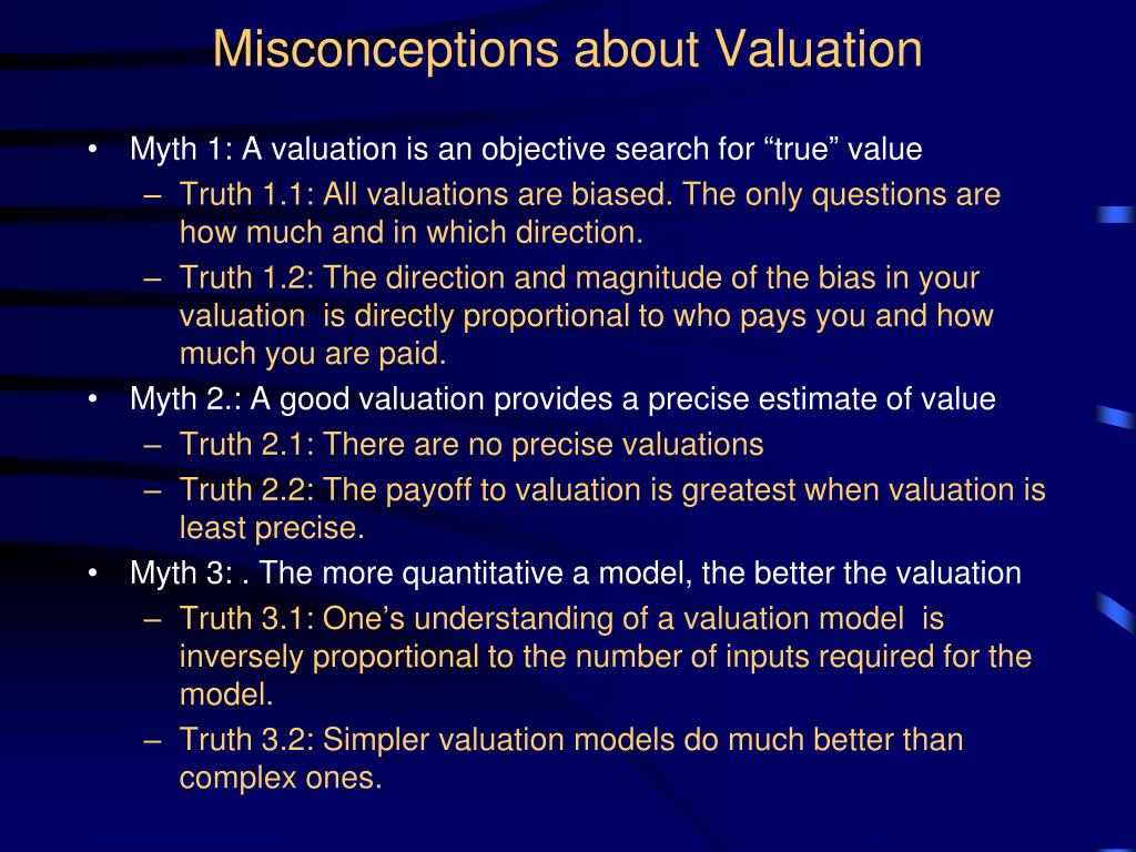 Misconceptions about Valuation