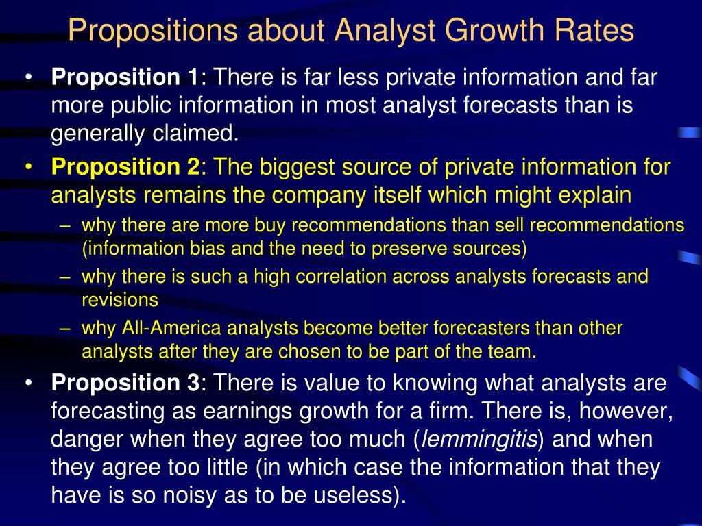 Propositions about Analyst Growth Rates