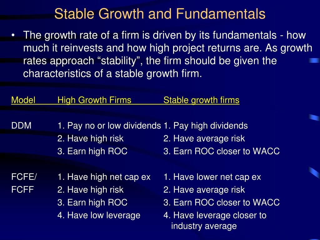 Stable Growth and Fundamentals