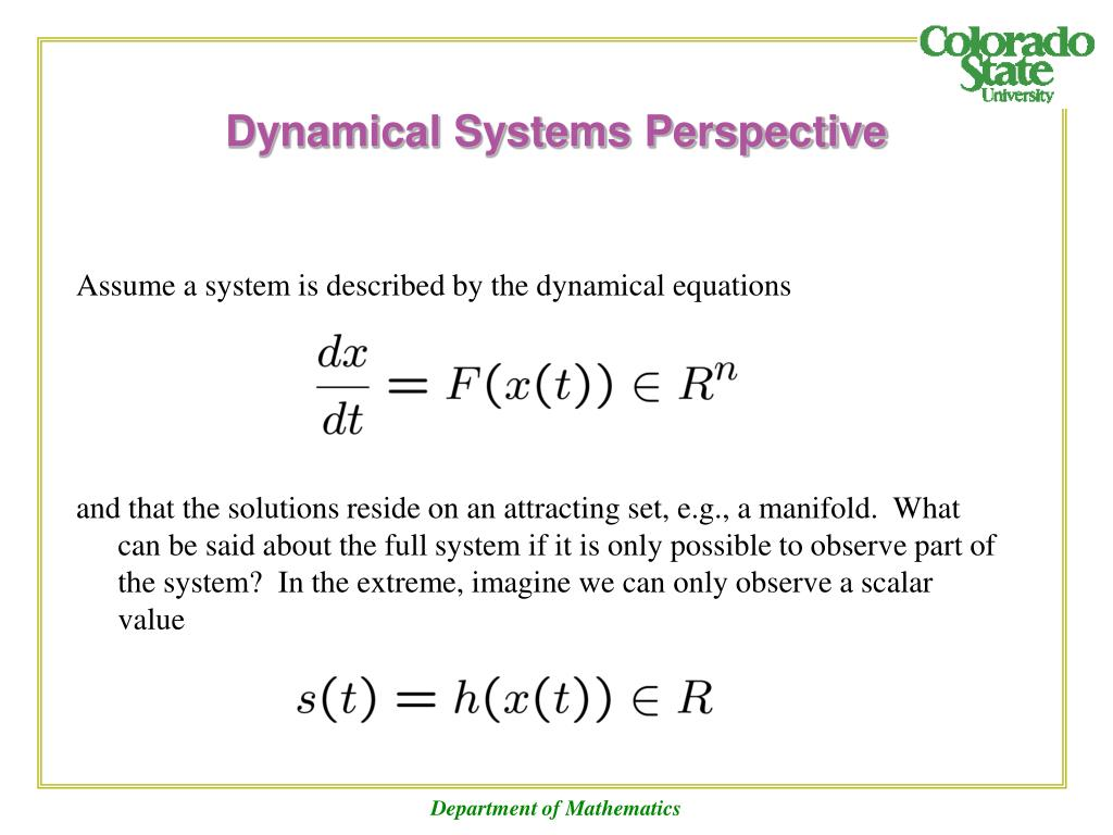 Dynamical Systems Perspective