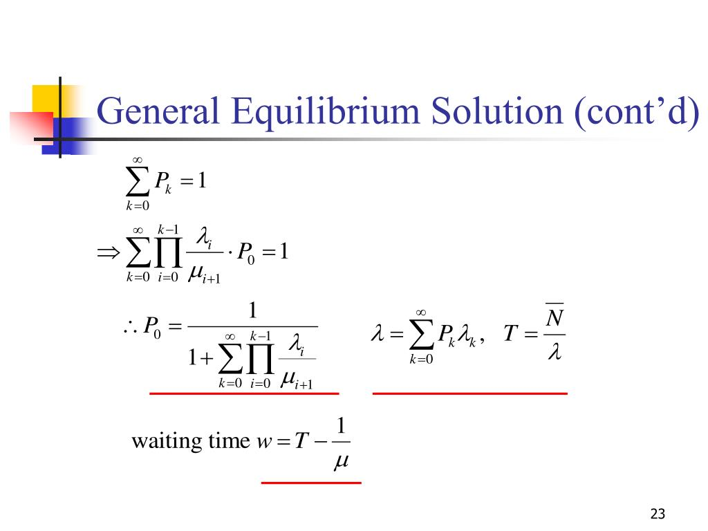 General Equilibrium Solution (cont'd)