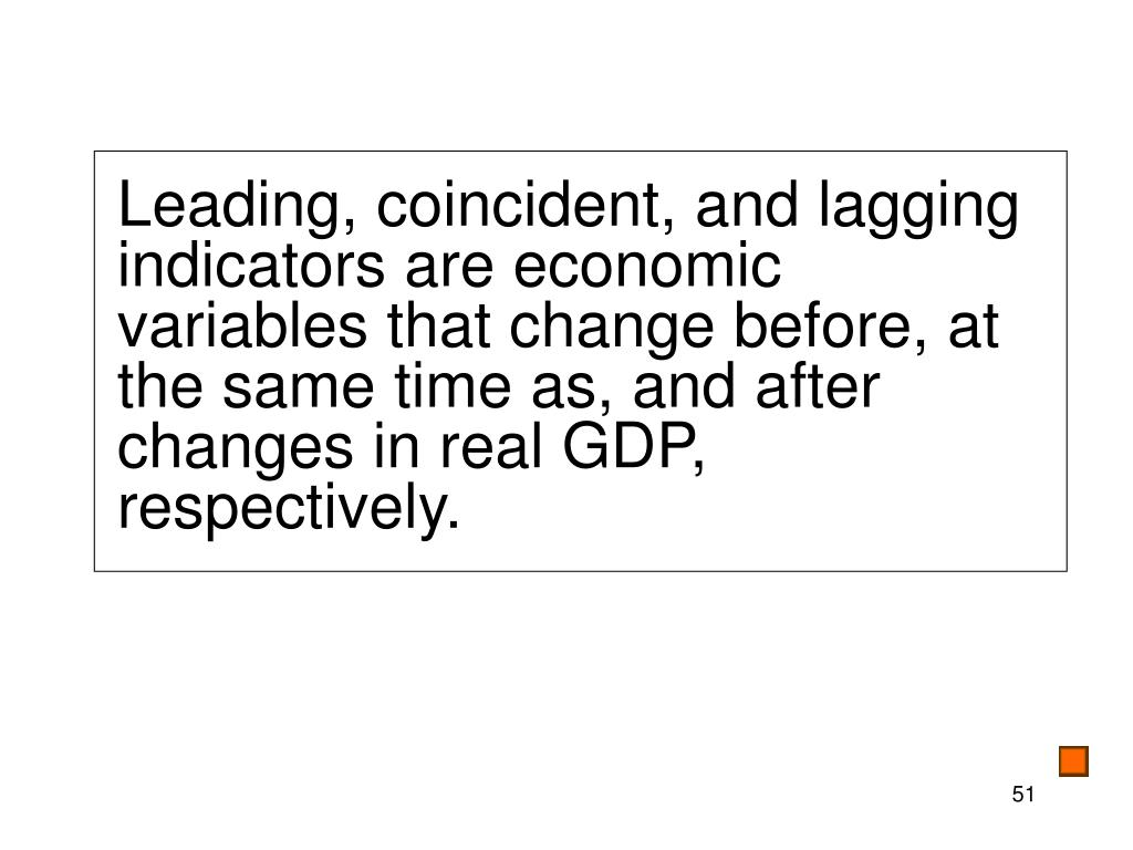 Leading, coincident, and lagging indicators are economic variables that change before, at the same time as, and after  changes in real GDP, respectively.
