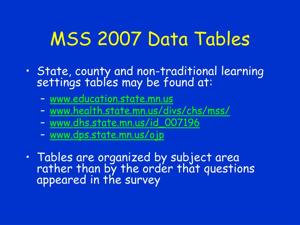 MSS 2007 Data Tables