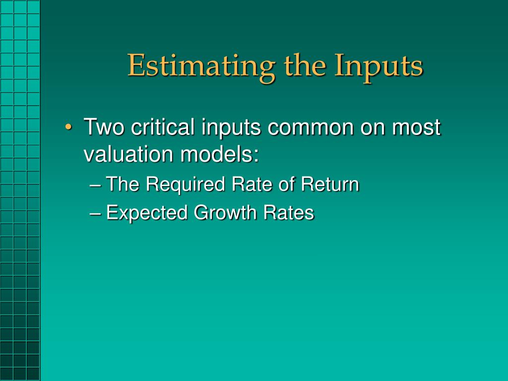 Estimating the Inputs