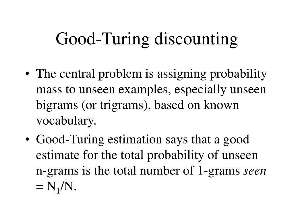 Good-Turing discounting