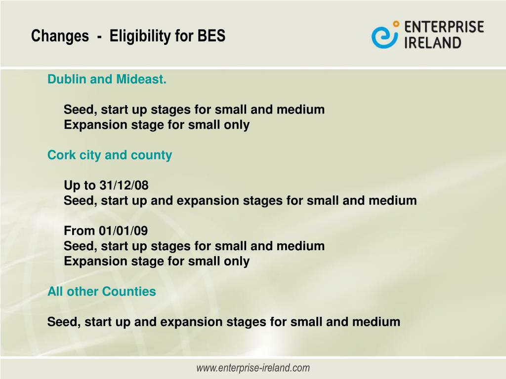 Changes  -  Eligibility for BES