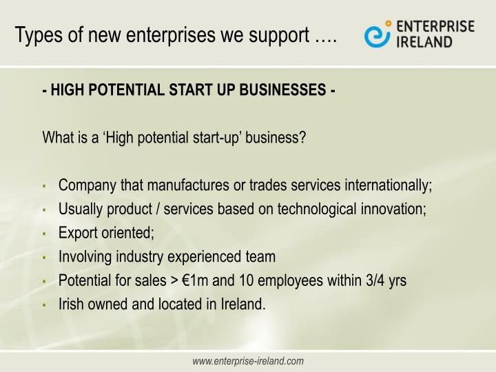 Types of new enterprises we support