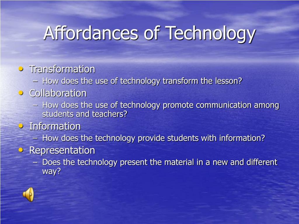 Affordances of Technology
