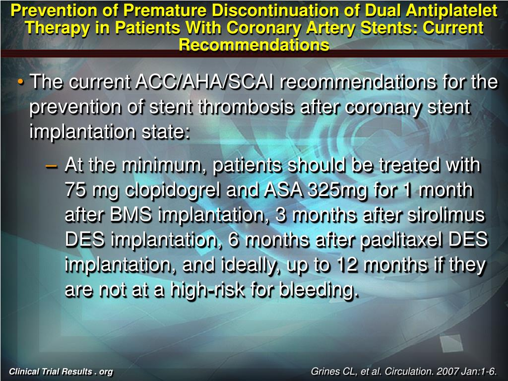 Prevention of Premature Discontinuation of Dual Antiplatelet Therapy in Patients With Coronary Artery Stents: Current Recommendations