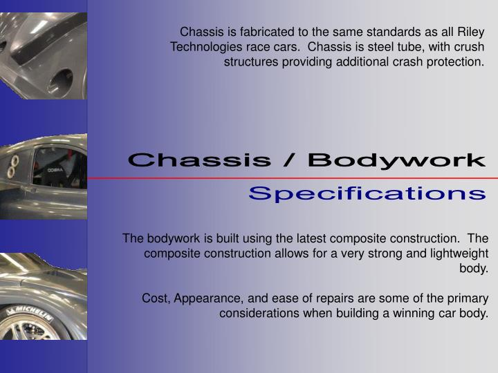 Chassis is fabricated to the same standards as all Riley Technologies race cars.  Chassis is steel tube, with crush structures providing additional crash protection.