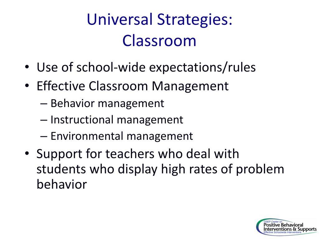 Universal Strategies: