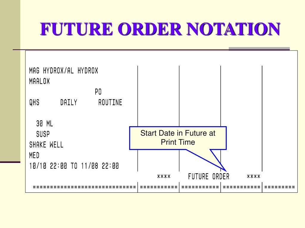 FUTURE ORDER NOTATION