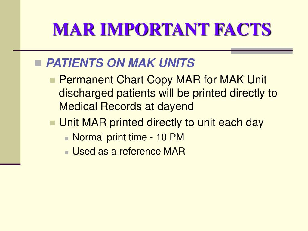 MAR IMPORTANT FACTS