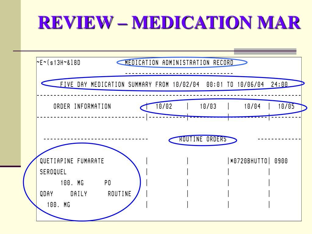 REVIEW – MEDICATION MAR
