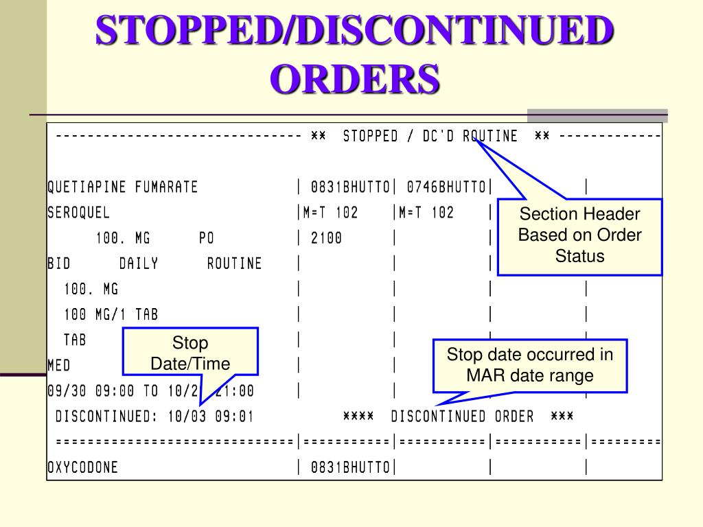 STOPPED/DISCONTINUED ORDERS
