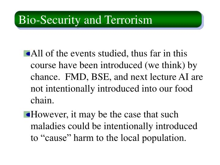 Bio security and terrorism