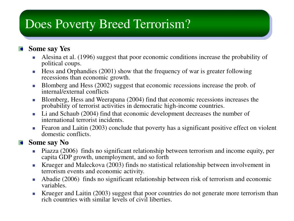 Does Poverty Breed Terrorism?