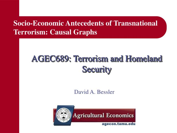 Socio economic antecedents of transnational terrorism causal graphs