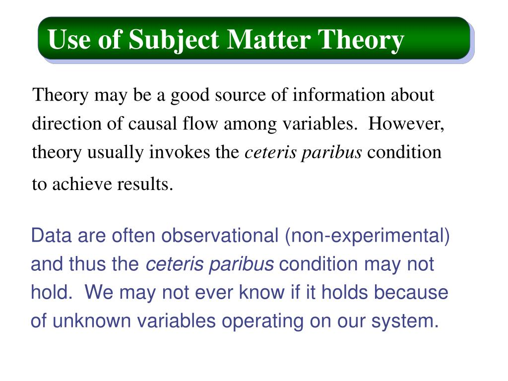 Use of Subject Matter Theory