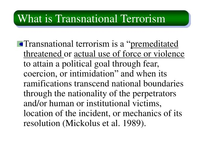What is transnational terrorism